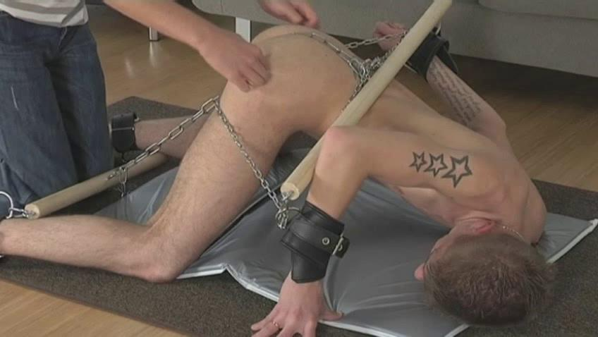 Tattooed pale merry gets every attaching for his body chained
