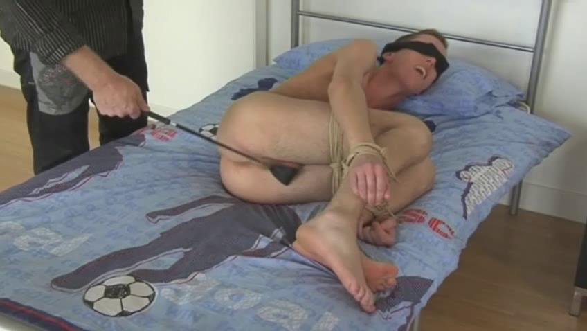Blonde uncaring dude gets blindfolded and spanked with a horse whip