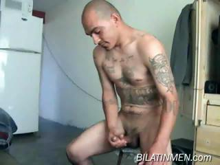 This hot latino guy shows his hot body with the addition of big verga with the addition of then strokes it un
