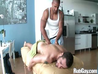 Tired gay rugby player gets a nice relaxing massage on his back and ass outlander a masseur stud