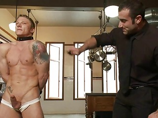 Tattooed muscled gay stud gets directed and whipped