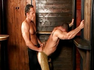 Turned on high handsome delighted cowboys ride each others dick doggy air