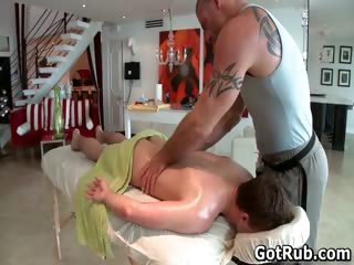 Hunky beggar gets oiled up and gay massaged