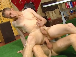Young guy pumped in ass bareback style in the lead getting his face...