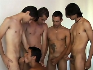 Horny Latino gay Alan Dias hooked up with a group of anal sex starved...