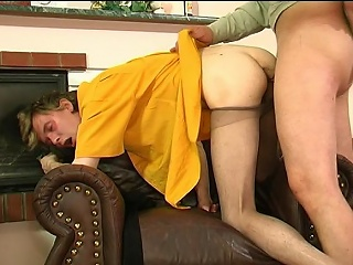 Corrupt guy in shiny pantihose giving hot pantyhosejob aching for hardcore...