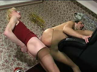 Steamy guys roughly lacy tights taking wild pleasure from their well-hung...