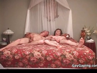 Three gays suck dicks together with fuck butts