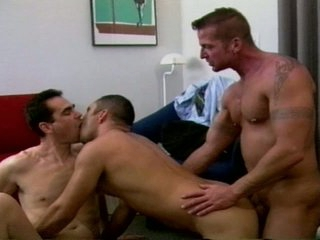 Furious threesome tight ass drilling with muscled gay hunks