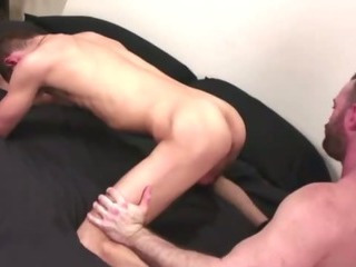 Of age gay guy uses a toy his young ass as he jerks him off