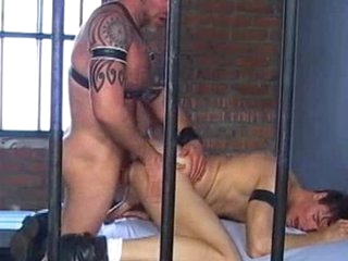 Thing has gobbled in this jailhouse making out performance