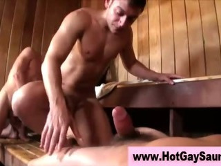 Bunch for gays in an obstacle sauna getting nailed proper hardcore