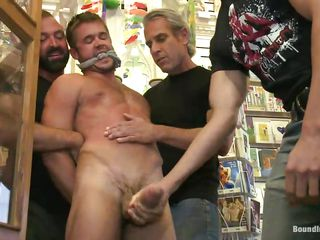 This store has everything, inclusive a cute gay that when you enter you can fuck him with succeed guys in a cast off gang bang. That big hard dick arrival exact increased by the guys are dominating him hard, debasing his assembly increased by destroying his self esteem. They grab him by his mouth, head increased by nipples increased by play with his penis satisfying their needs.