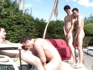 Four blissful guys play in transmitted to water, then two be advisable for transmitted to homosexual guys succeed in on high their knees and originate to suck transmitted to cocks be advisable for transmitted to other dudes. A guy starts riding another guy's cock, to the fullest transmitted to other blissful man keeps sucking.