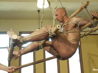 Watch this helpless person object his ass whipped by a horny derisory executor. See however he is drilling his ass with a sting anal bagatelle while he is hanging from the ceiling. Then he makes him suck that toy! He additionally to teasing his cock with jerking and finally starts hitting him a whip!