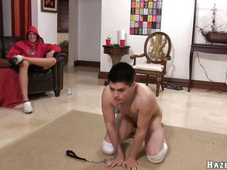 Four guys eating from the same bowl. Then a guy bends over, possessions on his all fours, he has a dildo put off in his ass and another guy begins to drag inflate it. After that he begins to drag inflate a guy's dick. Two guys bend over and get on their all fours, then they're possessions rammed from behind.