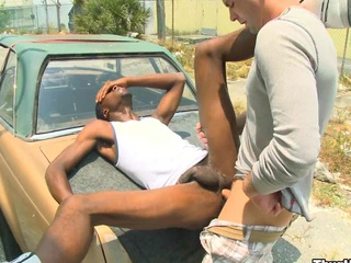 Sex-mad white man screwing his lovely black friend in his amazing ass