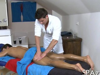 Oiled up guy massaged all over and fucked at home