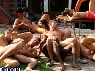 Bi slut gets spitroasted with reference to this all out orgy