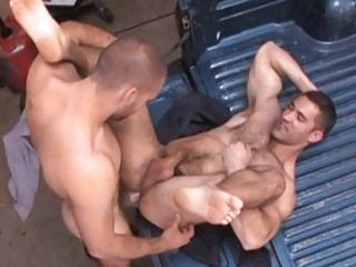 Nasty gay stud got his tight flimsy ass drilled hard