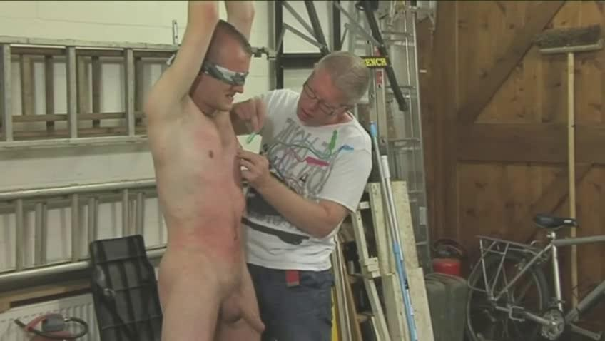 Sexy careless hunk gets tied blindfolded and dominated