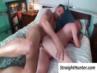 Two blithe boys surrounding bed with a gaping void ass penetration by his hard cock