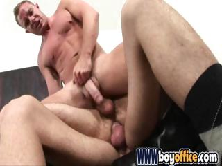 Office studs skewering their cheerful buddy with their large cocks