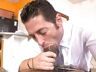 Sexy boy attempts to swallow