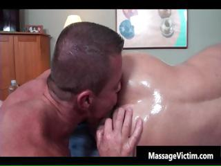 Shove around hot bodied guy gets oiled for gay