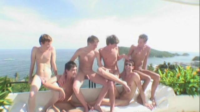 Six hot twinks having jubilant shafting party forth a fine villa