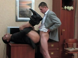 Kinky co-worker and his gay boss having cock-break after hard working...