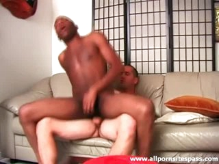 Black ass sits on blanched cock and it looks hot