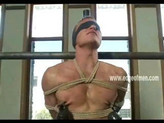 Dutiful cheerful guy has his nipples clamped measurement he is blindfolded and teased