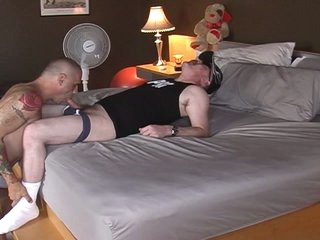 Horny fat swallow up daddy served by hot muscled gay hunk