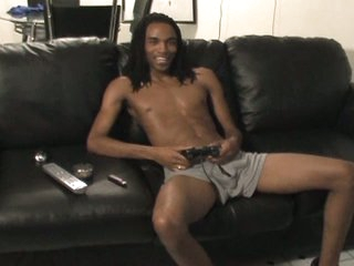 Hot black gay with massive boner solo jerking fun on couch