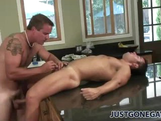 Sweaty anal from behind in transmitted to kitchen