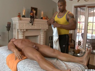 Cute black guy like to massage some white muscular bodies and dicks