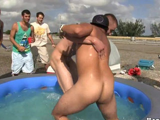 Muscular guy touching dick of his closes boyfriend, take a look!