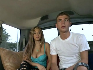 Raunchy rod riding with two lusty cheerful hunks at the car greens