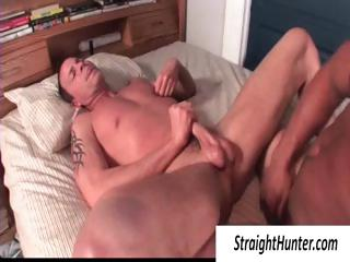 Two gay hunks close to flowerbed pounding the ass and jerking off his cock