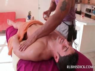 Good looking gay stud massaging butt