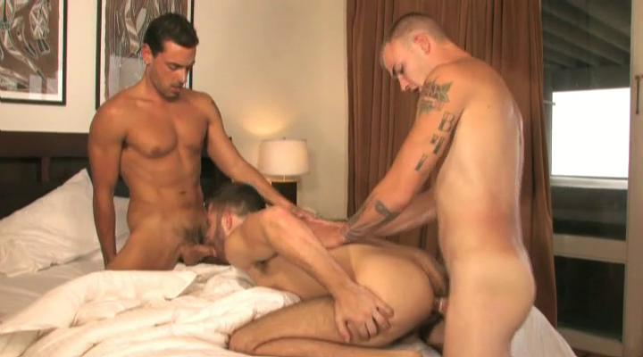 Three tanned and tattooed gay studs having triple in the house