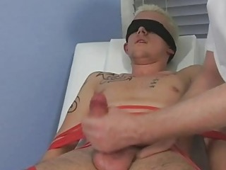 Tied coupled with blindfolded bazaar twink gets his cock sucked by mature gay daddy