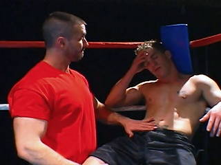 Boxing jocks get nasty in the ring before blowing loads on each other...