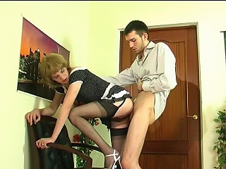 Upskirt gay sissy in soft nylons giving nut plus getting banged from...