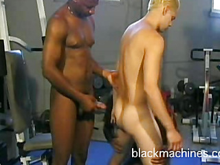 Ebony gay athletes and white fan group-fuck