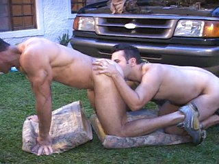 Big dick muscled latin gay studs outdoor anal hammering