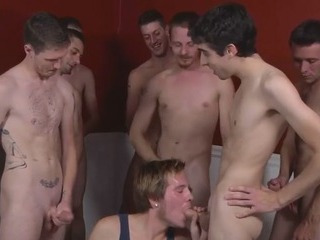White guys in all directions blowjob orgy