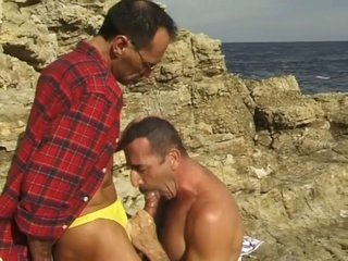 Middle aged gay guys sucking each other in a catch coast