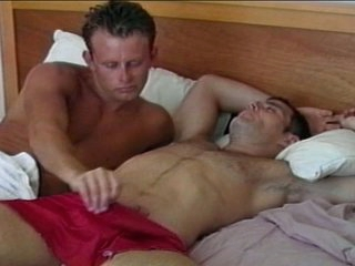Horny gay hunk wakes regarding big dick with awesome blowjob
